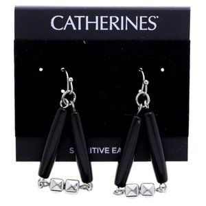 3/$20 Catherines silver & black dangles w/crystals
